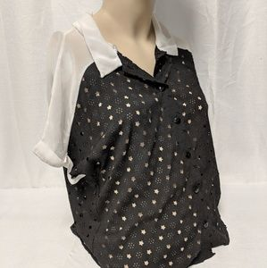 Sheer black and white laser-cut Stars top